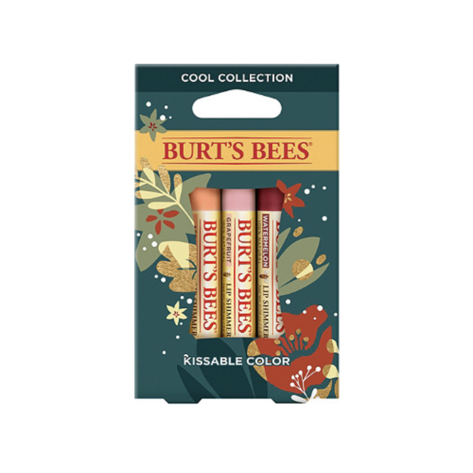 """<p><strong>Burt's Bees</strong></p><p>ulta.com</p><p><strong>$9.99</strong></p><p><a href=""""https://go.redirectingat.com?id=74968X1596630&url=https%3A%2F%2Fwww.ulta.com%2Fkissable-color-gift-set%3FproductId%3Dpimprod2017297&sref=https%3A%2F%2Fwww.oprahmag.com%2Flife%2Fg34373773%2Fstocking-stuffer-ideas%2F"""" rel=""""nofollow noopener"""" target=""""_blank"""" data-ylk=""""slk:SHOP NOW"""" class=""""link rapid-noclick-resp"""">SHOP NOW</a></p><p>A ubiquitous stocking stuffer in three holiday party-ready shades: watermelon shimmer, apricot shimmer, and grapefruit shimmer. </p>"""