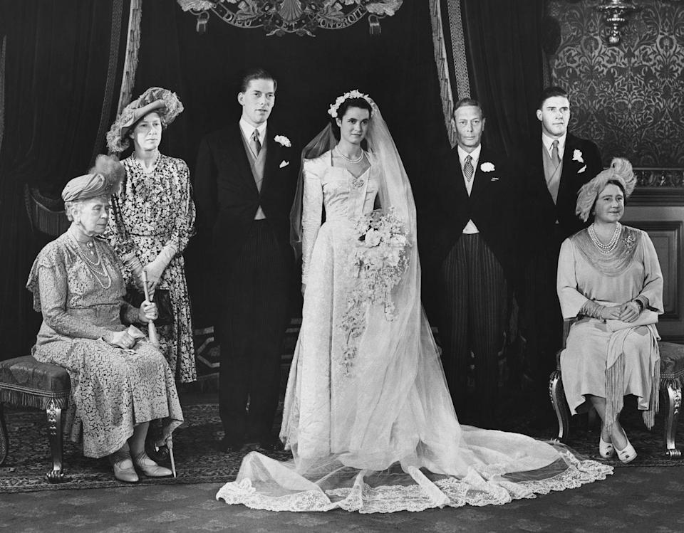 <p>The Countess of Harewood, Marion Stein, married the Earl of Harewood (the Queen's cousin) in a long-sleeve gown and a sweetheart neckline. </p>