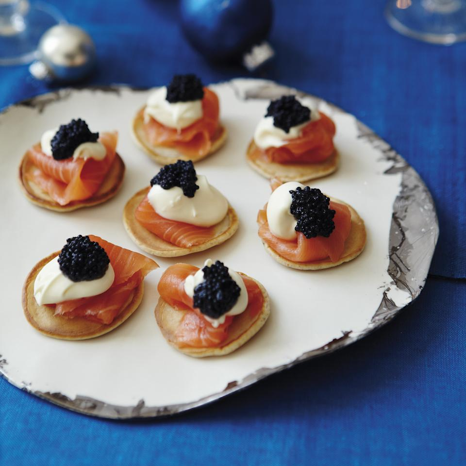Smoked Salmon Pancakes with Sour Cream and Caviar