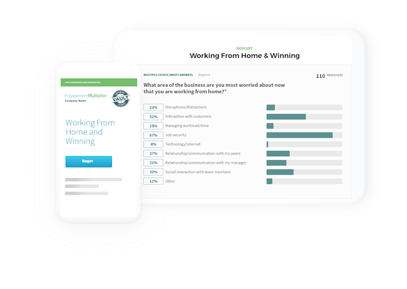 """The """"Working from Home & WInning"""" survey from Engagement Multiplier is designed to enable leaders to quickly assess remote team engagement, and understand what's working, and where adjustments need to be made. Engagement Multiplier is making the survey available free to business leaders, to assist in their businesses' recovery from the COVID19 crisis."""
