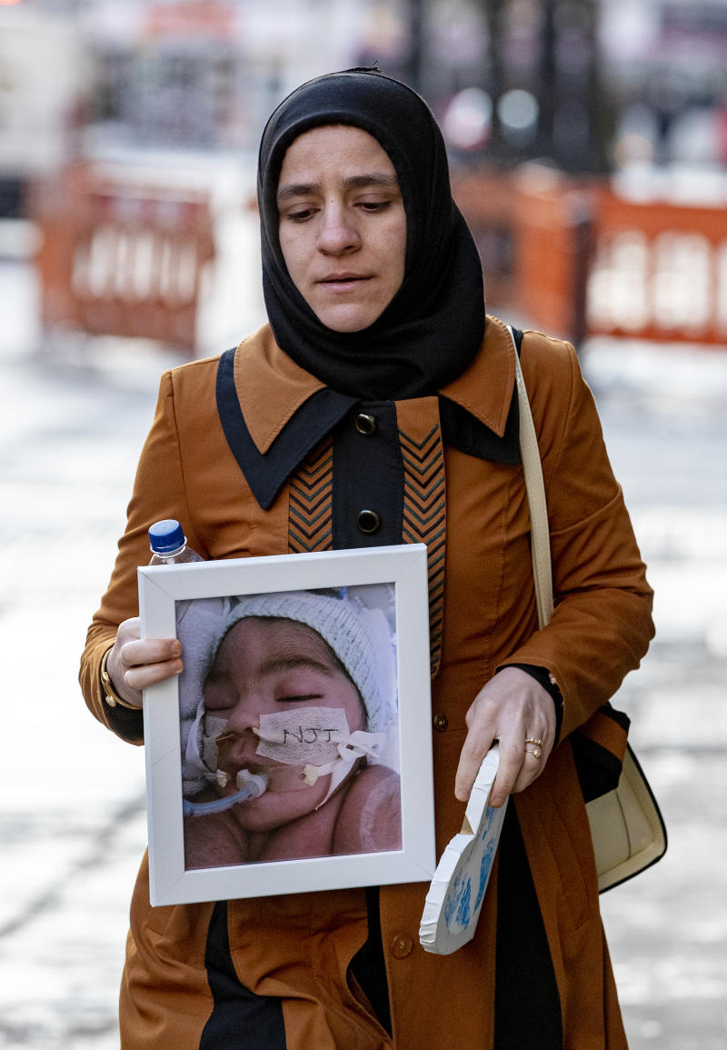 Shokhan Ali, the mother of Midrar Ali, arrives ahead of a hearing at The Family Court in Preston. (PA Images)