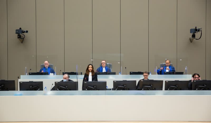 View of the courtroom during the trial of Lord's Resistance Army ex-commander Dominic Ongwen at the International Criminal Court (ICC) in The Hague