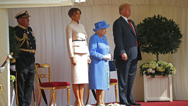 President Trump and first lady Melania Trump met with Queen Elizabeth II at Windsor Castle in England. (Pablo Martinez Monsivais/AP)