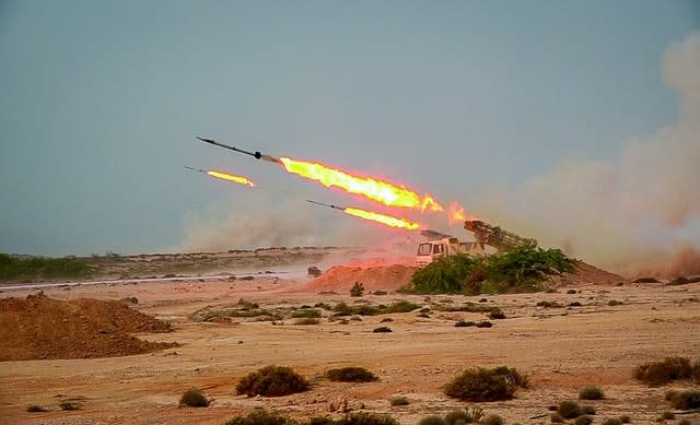 Missiles are fired in a Revolutionary Guard military exercise