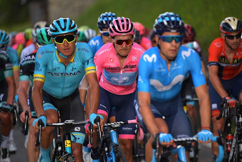 SAN MARTINO DI CASTROZZA, ITALY - MAY 31: Andrey Zeits of Kazahkstan and Astana Pro Team / Richard Carapaz of Ecuador and Movistar Team Pink Leader Jersey / during the 102nd Giro d'Italia, Stage 19 a 151km from Treviso to San Martino di Castrozza 1478m / Tour of Italy / #Giro / @giroditalia / on May 31, 2019 in San Martino di Castrozza, Italy. (Photo by Justin Setterfield/Getty Images)