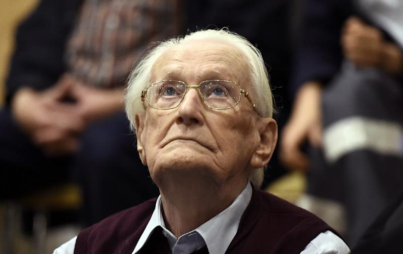 "Former guard Oskar Groening became known as the ""bookkeeper of Auschwitz"" for his role as an accountant, sorting and counting money collected from people killed or used as slave labour (AFP Photo/TOBIAS SCHWARZ)"