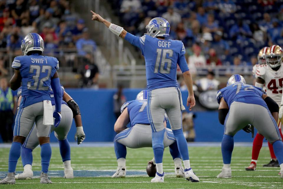 Detroit Lions quarterback Jared Goff (16) calls a play against the San Francisco 49ers Sunday, Sept. 12, 2021 at Ford Field.