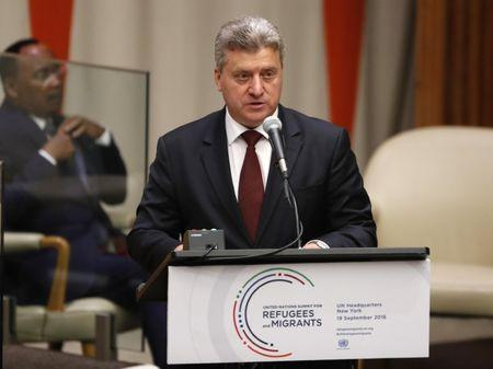 President Gjorge Ivanov of Macedonia speaks during a high-level meeting on addressing large movements of refugees and migrants at the United Nations General Assembly in Manhattan, New York