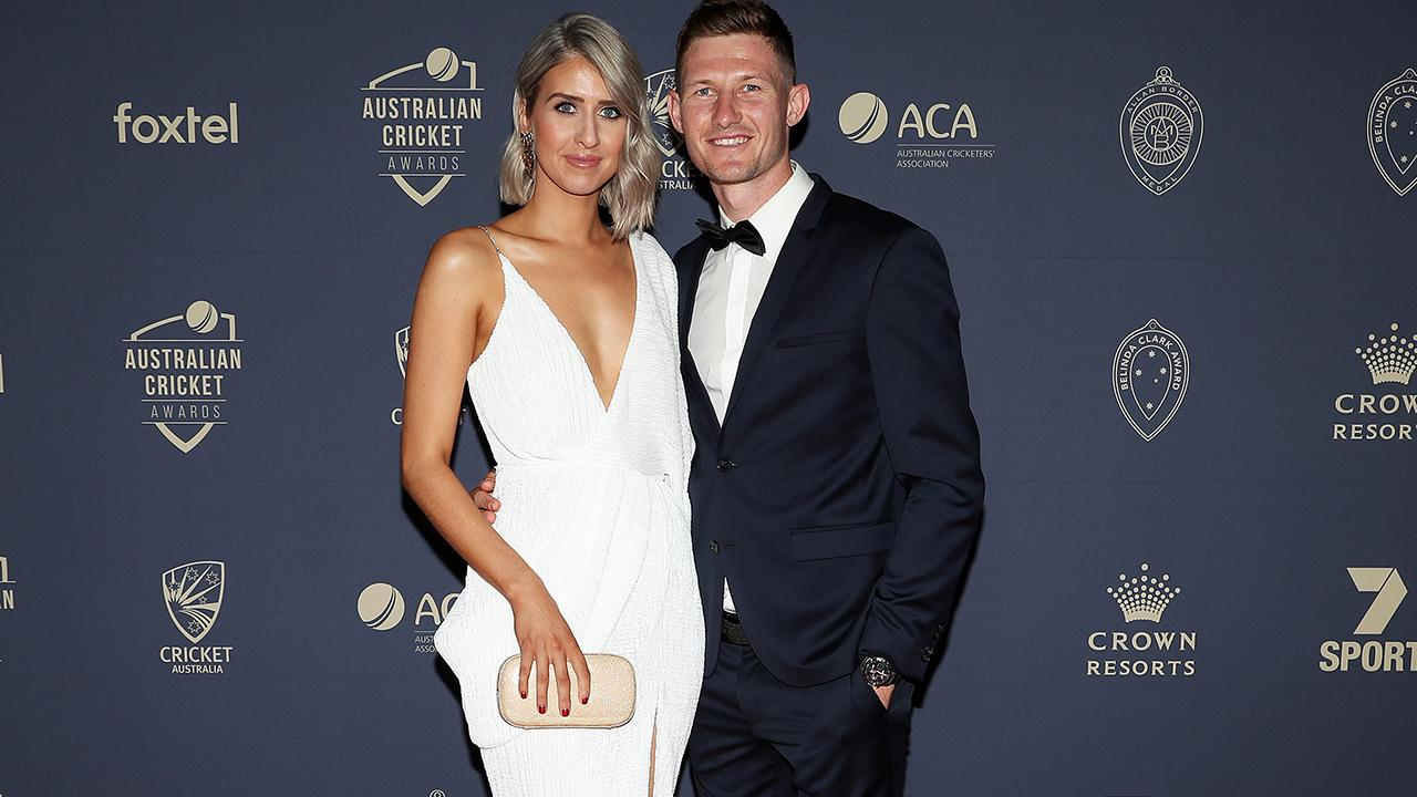 Cameron Bancroft and partner Caitlin Paris. (Photo by Graham Denholm/Getty Images)
