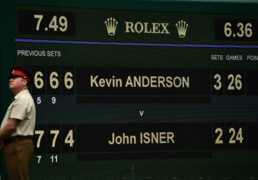 Epic story: The scoreboard after Kevin Anderson beat John Isner in the semi-final