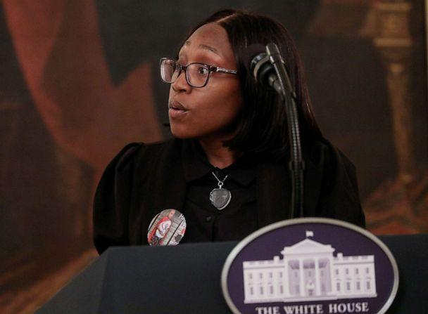 PHOTO: Charron Powell, whose son LeGend Taliferro was shot and killed in Kansas City in June, speaks during an event in the East Room at the White House in Washington, July 22, 2020. (Leah Millis/Reuters, FILE)