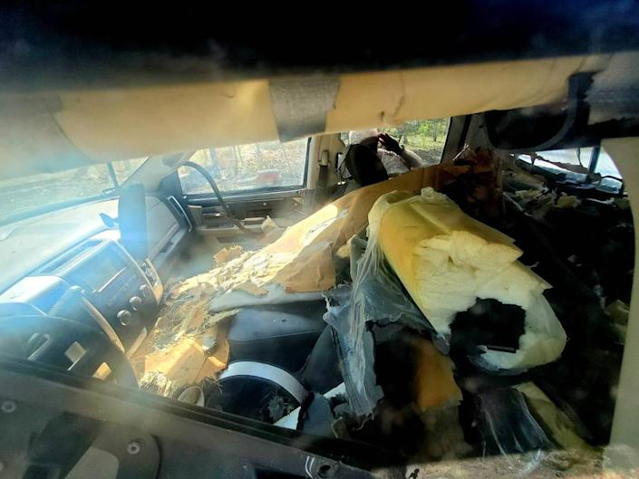 """A bear got into a truck in South Park, Colorado, and caused """"extensive damage,"""" wildlife officials said."""