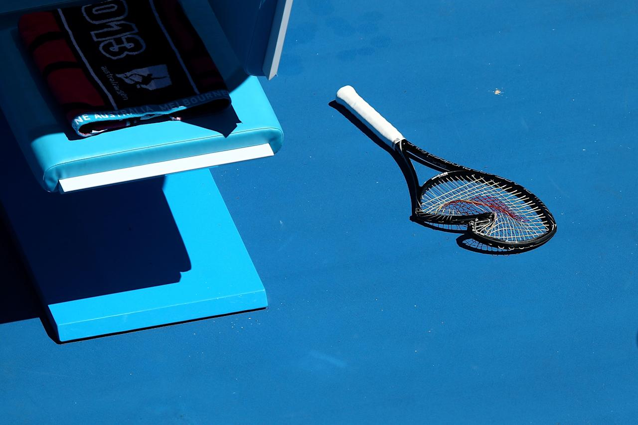 MELBOURNE, AUSTRALIA - JANUARY 23:  A racquet damaged by Serena Williams of the United States of America in her Quarterfinal match against Sloane Stephens of the United States of America during day ten of the 2013 Australian Open at Melbourne Park on January 23, 2013 in Melbourne, Australia.  (Photo by Ryan Pierse/Getty Images)