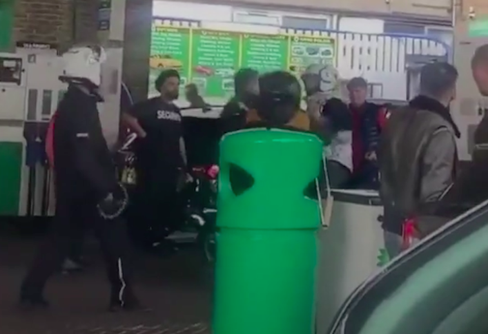 A fight broke out at a Camden petrol station in London between two moped riders on Sunday. (PA)