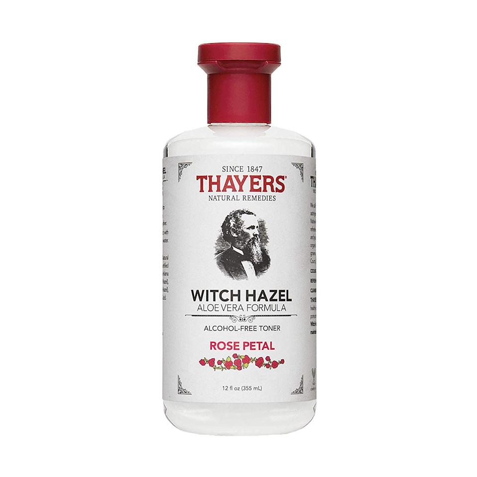 "<p><strong>THAYERS</strong></p><p>amazon.com</p><p><strong>$8.00</strong></p><p><a href=""http://www.amazon.com/dp/B00016XJ4M/?tag=syn-yahoo-20&ascsubtag=%5Bartid%7C2141.g.27454626%5Bsrc%7Cyahoo-us"" target=""_blank"">SHOP NOW</a></p><p>This cult-favorite product has earned more than 10,000 raving Amazon reviews, thanks to its simple but effective formulation. <a href=""https://www.prevention.com/beauty/skin-care/a26450242/witch-hazel-skin-benefits/"" target=""_blank"">Witch hazel</a> on its own has been show to <strong>ward off signs of aging, tighten pores, <a href=""https://www.prevention.com/beauty/skin-care/a26763870/witch-hazel-for-acne/"" target=""_blank"">reduce oil and acne</a>, and even calm inflammation</strong>—but this toner contains rose and <a href=""https://www.prevention.com/beauty/skin-care/a25995450/aloe-vera-benefits-for-skin/"" target=""_blank"">aloe vera</a> for an extra skin-soothing punch. Even better, it's completely free of drying alcohol. (Note: Make sure you test a patch of your skin first to ensure you don't have an allergic reaction.)</p>"
