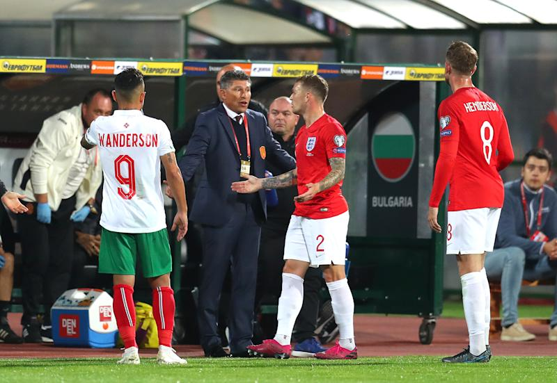 SOFIA, BULGARIA - OCTOBER 14: Krasimir Balakov, Manager of Bulgaria speaks with Kieran Trippier of England during the UEFA Euro 2020 qualifier between Bulgaria and England on October 14, 2019 in Sofia, Bulgaria. (Photo by Catherine Ivill/Getty Images)