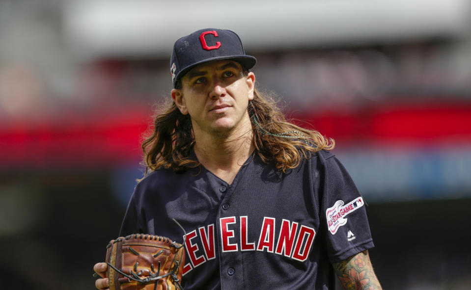 Cleveland Indians pitcher Mike Clevinger leaves the game against the Minnesota Twins during a baseball game Sunday, Sept. 8, 2019 in Minneapolis. (AP Photo/Andy Clayton-King)