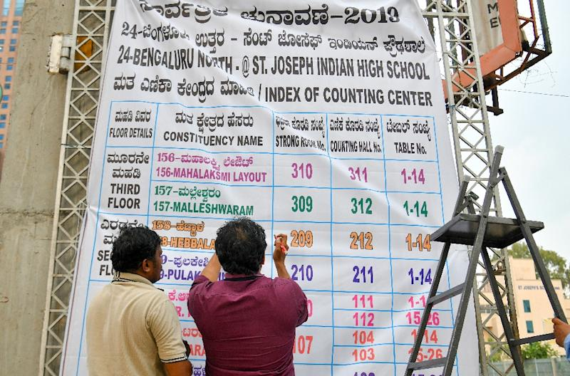 Indian election officials in Bangalore erect a banner with the list of constituencies at a counting centre on the eve of vote-tally day, when the roughly 600 million ballots cast in the world's biggest election are to be counted (AFP Photo/MANJUNATH KIRAN)