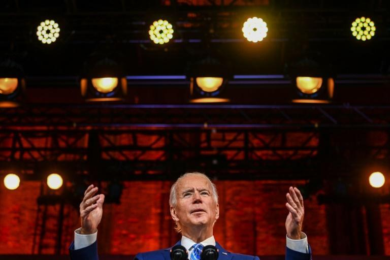 US President-elect Joe Biden delivers a Thanksgiving address at the Queen Theatre in Wilmington, Delaware, on November 25, 2020