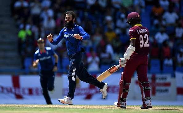 ST JOHN'S, ANTIGUA AND BARBUDA - MARCH 05: Moeen Ali of England celebrates dismissing Kraigg Brathwaite of the West Indies during the 2nd One Day International match between the West Indies and England at Sir Vivian Richards Cricket Ground on March 5, 2017 in St John's, Antigua And Barbuda (Photo by Gareth Copley/Getty Images)