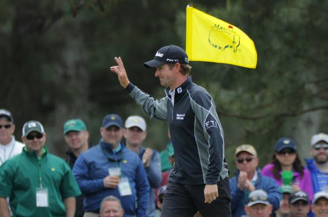 Webb Simpson of the U.S. celebrates his eagle on the 7th hole during final round play of the 2018 Masters golf tournament at the Augusta National Golf Club in Augusta, Georgia, U.S. April 8, 2018. REUTERS/Brian Snyder