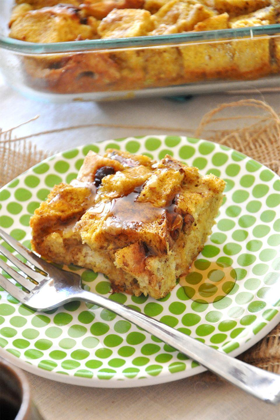 """<p>Toss the ingredients for this delicious French toast recipe together the night before while you're putting away leftovers, then pop it in the oven for 45 minutes the following morning.</p><p><strong>Get the recipe at <a href=""""http://minimalistbaker.com/pumpkin-french-toast-bake/"""" rel=""""nofollow noopener"""" target=""""_blank"""" data-ylk=""""slk:Minimalist Baker"""" class=""""link rapid-noclick-resp"""">Minimalist Baker</a>.</strong></p>"""