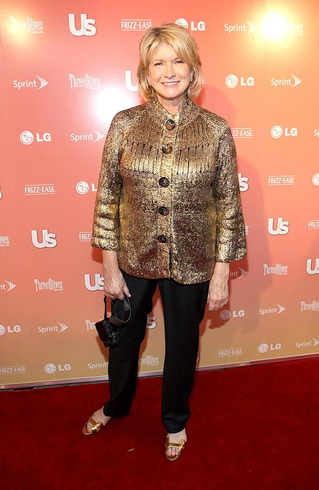 """Also in attendance ... domestic diva Martha Stewart, who sported an unflattering sequined jacket, black trousers, and matching gold flats. Bennett Raglin/<a href=""""http://www.wireimage.com"""" target=""""new"""">WireImage.com</a> - September 16, 2009"""