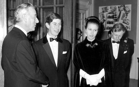 Louis Mountbatten, Prince Charles and Princess Anne at a special preview of the television series The Life and Times of Lord Mountbatten in 1968, the year of the plot against Wilson's government - Credit: Topham Picturepoint