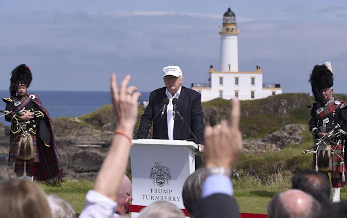 Donald Trump speaks during a news conference at his Turnberry golf course, in Turnberry, Scotland, June 24, 2016. (Photo: Clodagh Kilcoyne/Reuters)