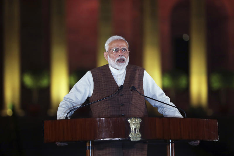 Indian Prime Minister Narendra Modi speaks to the media after meeting with the President to stake claim to form the government in New Delhi, India, Saturday, May 25, 2019. Newly elected lawmakers from India's ruling alliance led by the Hindu nationalist Bharatiya Janata Party elected Narendra Modi as their leader on Saturday, paving the way for his second five-year term as prime minister after a thunderous victory in national elections. (AP Photo/Manish Swarup)