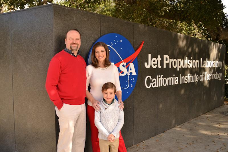 Marina Jurica and her family outside NASA's Jet Propulsion Laboratory in Southern California in December 2019.