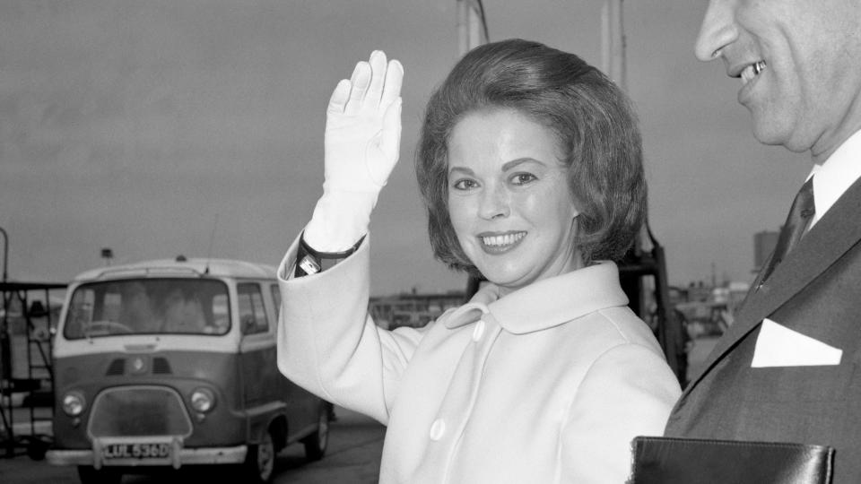 Shirley Temple Black arrives at Heathrow Airport from France on a European tour on behalf of the Republican National Committee. (Photo by PA Images via Getty Images)