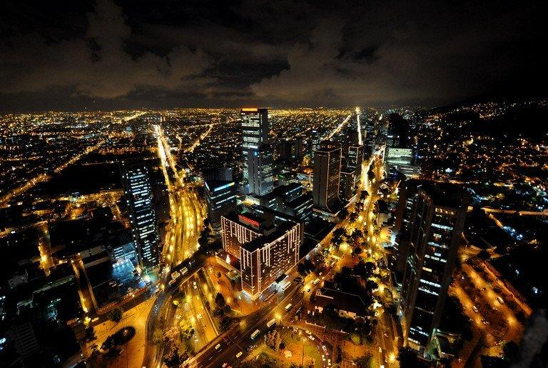 Bogota, Columbia, is illuminated at night with Christmas lights on November 28, 2008