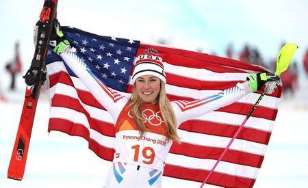 FILE PHOTO - Feb 22, 2018; Pyeongchang, South Korea; Mikaela Shiffrin (USA) celebrates winning the silver medal in the ladiesÕ alpine skiing combined event during the Pyeongchang 2018 Olympic Winter Games at Jeongseon Alpine Centre. Mandatory Credit: Jeff Swinger-USA TODAY Sports