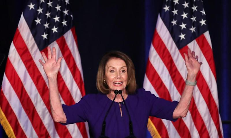 Nancy Pelosi, who is likely to become the new speaker of the House of Representatives, reacts to the results of the midterm elections at a Democratic election night party and rally in Washington.