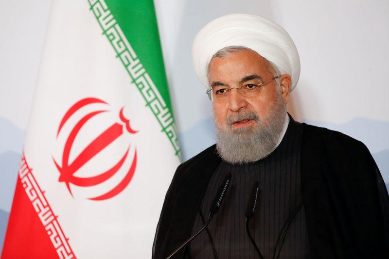 Iranian President Hassan Rouhani addresses the Innovation and Industry Forum during an official visit in Bern
