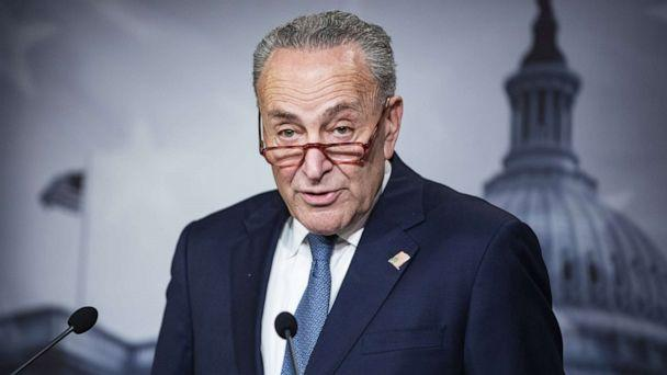PHOTO: Senate Minority Leader Chuck Schumer holds a press conference at the U.S. Capitol, Dec. 16, 2019, in Washington, DC. (Samuel Corum/Getty Images, FILE)