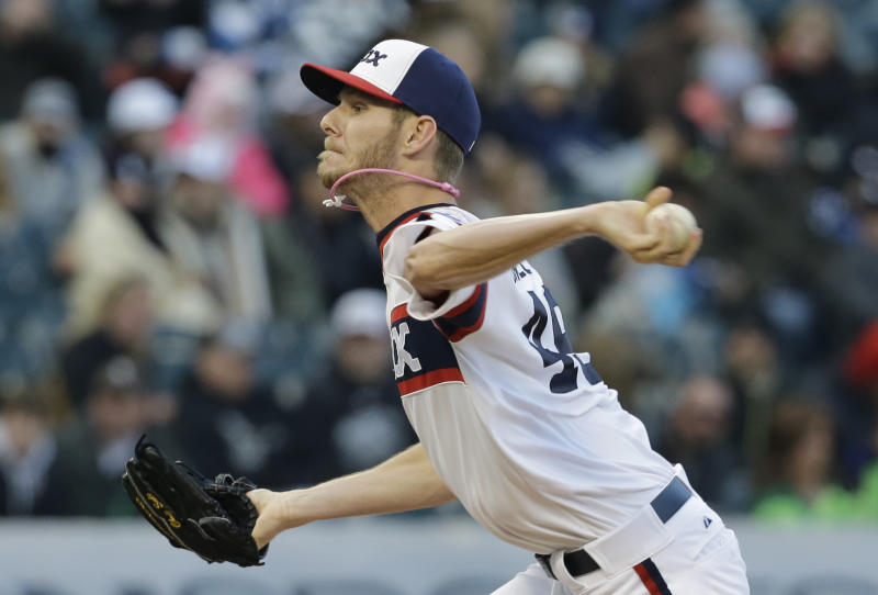 Chicago White Sox starter Chris Sale throws against the Los Angeles Angels during the first inning of a baseball game in Chicago, Sunday, May 12, 2013. (AP Photo/Nam Y. Huh)