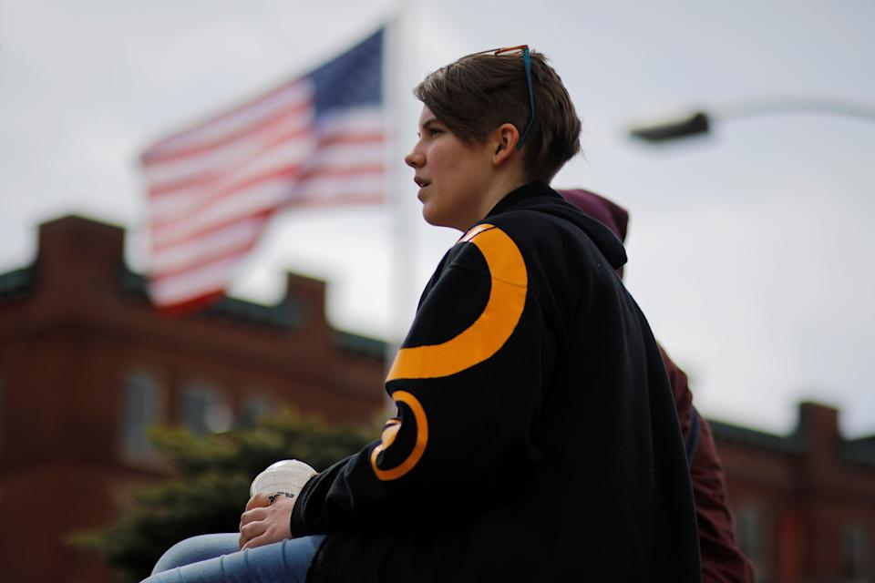 Nineteen-year-old Lauren Duvall speaks to Reuters in Manchester, New Hampshire, U.S., March 28, 2018.  Picture taken March 28, 2018.    REUTERS/Brian Snyder