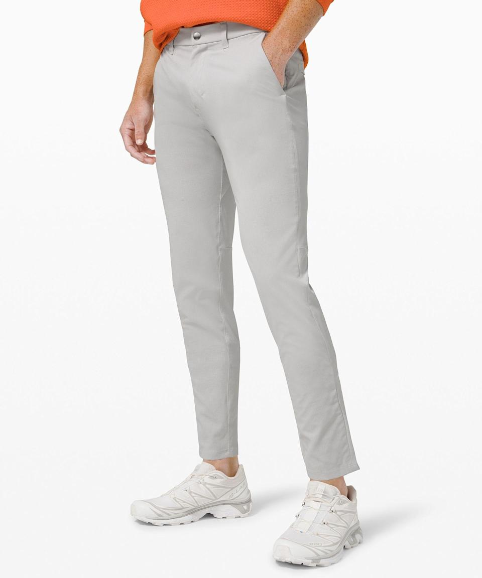 """<p><strong>Lululemon</strong></p><p>lululemon.com</p><p><a href=""""https://go.redirectingat.com?id=74968X1596630&url=https%3A%2F%2Fshop.lululemon.com%2Fp%2Fmens-trousers%2FCommission-Pant-Slim-Light-MD%2F_%2Fprod10390282&sref=https%3A%2F%2Fwww.esquire.com%2Fstyle%2Fmens-fashion%2Fg36003946%2Flululemon-sale-men-april-2021%2F"""" rel=""""nofollow noopener"""" target=""""_blank"""" data-ylk=""""slk:Shop Now"""" class=""""link rapid-noclick-resp"""">Shop Now</a></p><p><strong><del>$128.00</del> $79.00 (38%off)</strong></p><p>A techier take on the chino, with hidden pockets and Ventlight fabric that's perfect for the warmer weather ahead.<br></p>"""