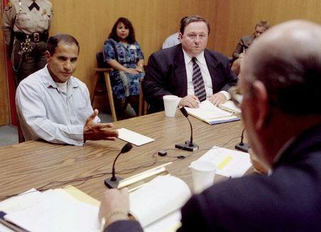 Sirhan Sirhan (L), convicted of killing Sen. Robert F. Kennedy, pleads his case during his tenth parole hearing at the Corcoran State Prison June 18, 1997. FILE