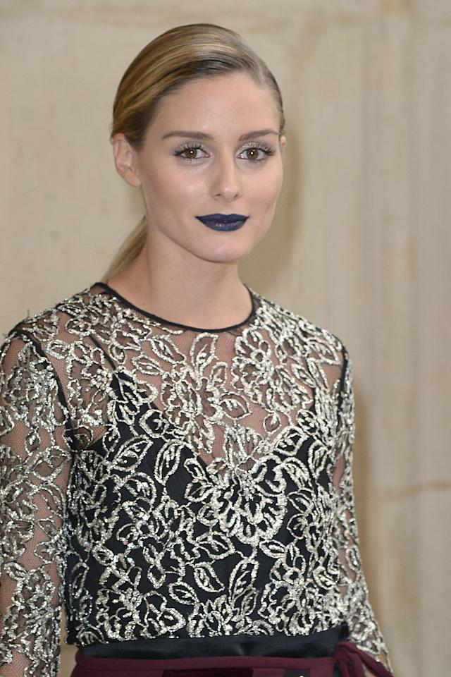 <p>We love Dior's blue-black lip color that Olivia Palermo rocked all day at Fashion Week. (Photo: Getty) </p>