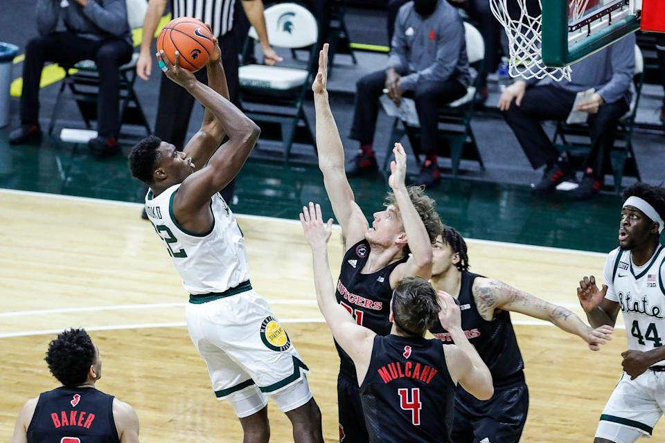 Michigan State center Mady Sissoko (22) makes a jump shot against Rutgers during the first half at the Breslin Center in East Lansing, Mich., Tuesday Jan. 5, 2021.