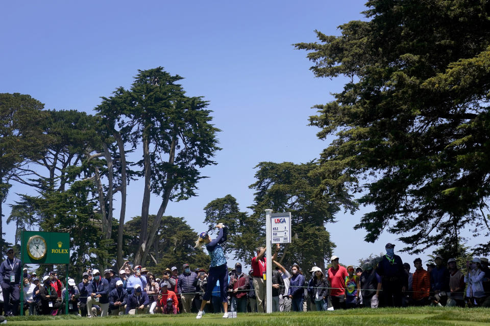 Lexi Thompson plays her shot from the ninth tee during the final round of the U.S. Women's Open golf tournament at The Olympic Club, Sunday, June 6, 2021, in San Francisco. (AP Photo/Jeff Chiu)