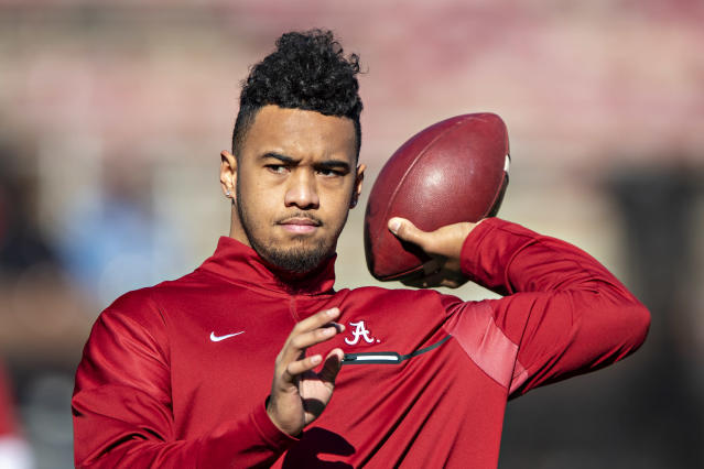 Following Alabama's win at the Citrus Bowl, Tua Tagovailoa said he plans to announce whether he will enter the NFL draft or not on Monday. (Wesley Hitt/Getty Images)