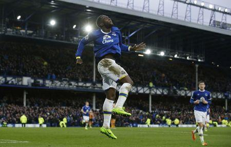 Britain Football Soccer - Everton v Hull City - Premier League - Goodison Park - 18/3/17 Everton's Romelu Lukaku celebrates scoring their third goal Reuters / Andrew Yates Livepic