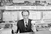 """<p>Irv Robbins, the founder of Baskin Robbins Ice Cream, poses behind the ice cream counter with a cone in his hand and a smile on his face. The ice cream empire was <a href=""""https://news.baskinrobbins.com/internal_redirect/cms.ipressroom.com.s3.amazonaws.com/286/files/20186/Baskin-Robbins%20History%20Fact%20Sheet.pdf"""" rel=""""nofollow noopener"""" target=""""_blank"""" data-ylk=""""slk:founded in 1945"""" class=""""link rapid-noclick-resp"""">founded in 1945</a> in Glendale, California. </p>"""