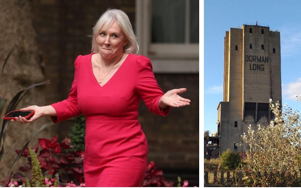 Nadine Dorries's decision to change the status of the Dorman Long Tower, right, has paved the way for the landmark to be destroyed - Getty Images/PA
