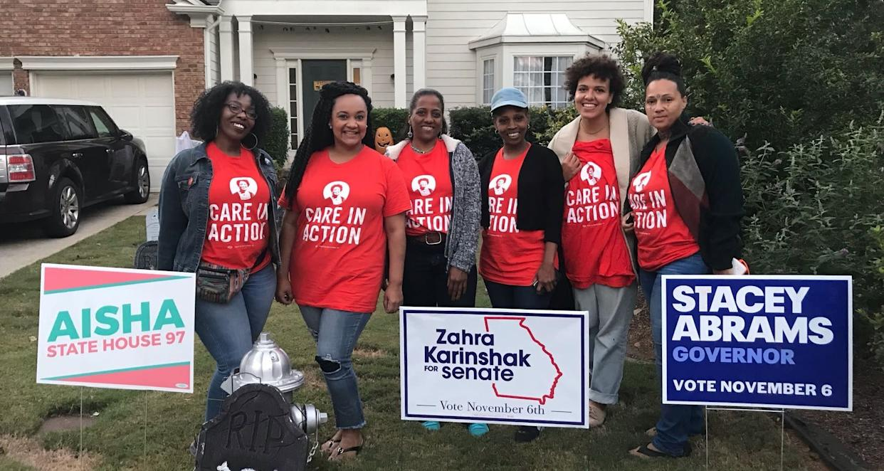 The women, domestic workers by day, canvass for Stacey Abrams in the evenings. (Photo: Laura Bassett/HuffPost)