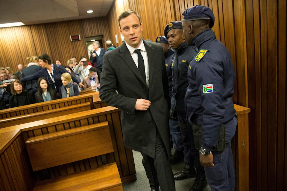 Paralympian athlete Oscar Pistorius, accused of the murder of his girlfriend Reeva Steenkamp three years ago, arrives at the High Court in Pretoria, on July 6, 2016 for a hearing in his murder trail. Paralympian Oscar Pistorius will learn on July 6 how long he will spend in jail when a judge sentences him for murdering his girlfriend Reeva Steenkamp three years ago. Pistorius was freed from prison in the South African capital Pretoria last October after serving one year of a five-year term for culpable homicide -- the equivalent of manslaughter.  / AFP PHOTO / POOL / MARCO LONGARI (Photo by Xinhua/Sipa USA)